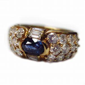 K18サファイアダイヤモンドリング